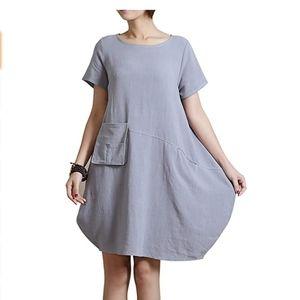 Lagenlook Linen Oversized Cocoon Tunic Dress Gray